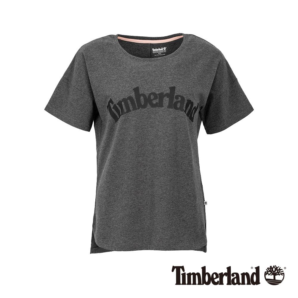 Timberland 女款深灰色品牌LOGO素面休閒短袖T恤|B3513