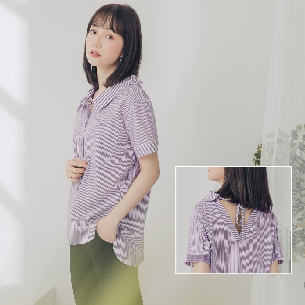 高含棉配色條紋後綁帶前短後長短袖襯衫-OB大尺碼 product image 1