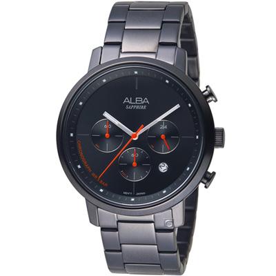 ALBA雅柏 休閒計時腕錶(AT3E01X1)黑42mm