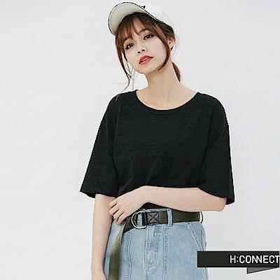 H:CONNECT 韓國品牌 女裝-竹節棉圓領T-shirt-黑