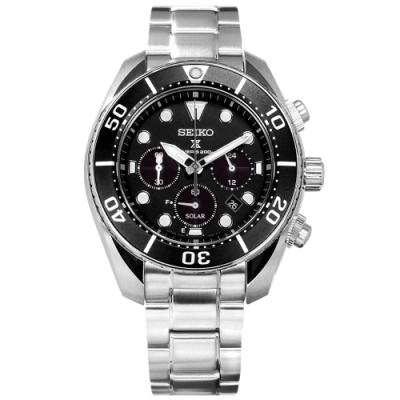 SEIKO 精工 PROSPEX 太陽能 潛水錶 計時碼錶 不鏽鋼手錶-黑色/45mm