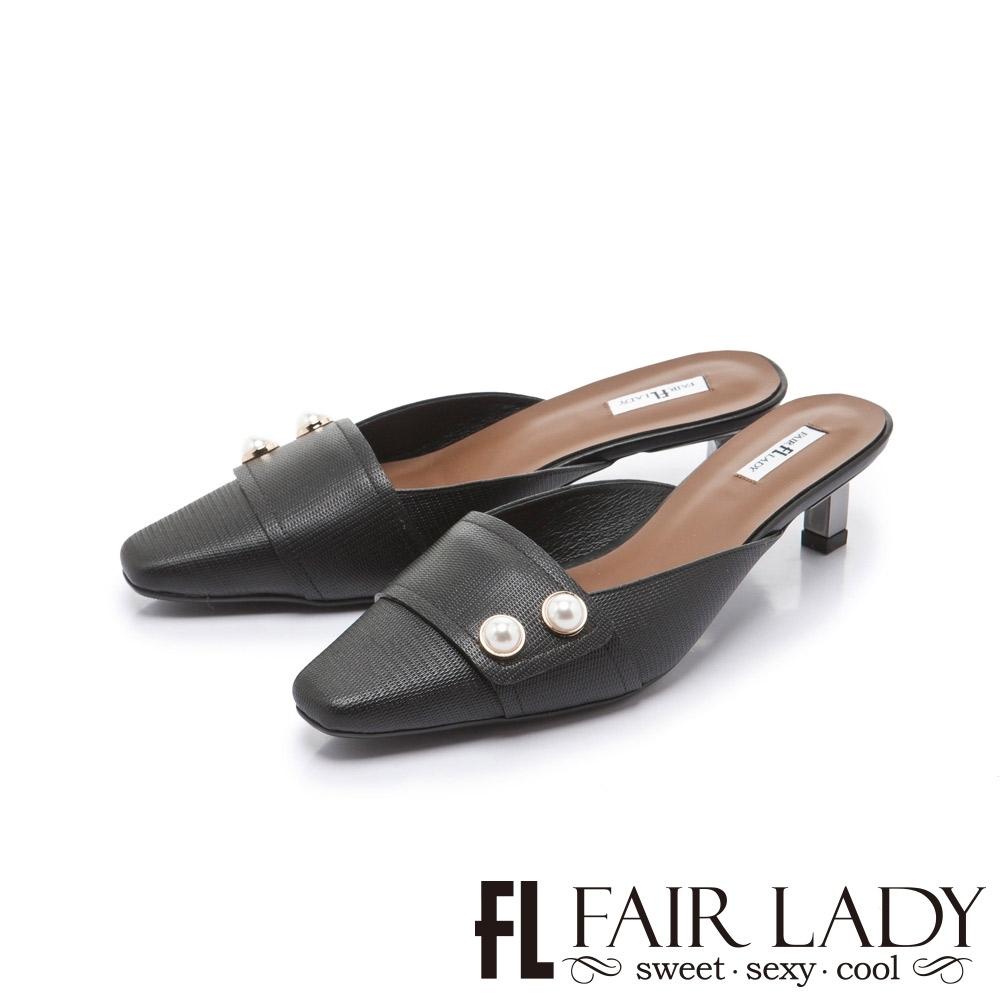 FAIR LADY 優雅小姐經典方頭珍珠飾釦貓跟穆勒鞋 黑