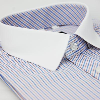 【金安德森】白領藍黃格紋窄版短袖襯衫