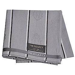 TRUSSARDI 經典品牌皇家圖騰LOGO帕領巾(灰系)