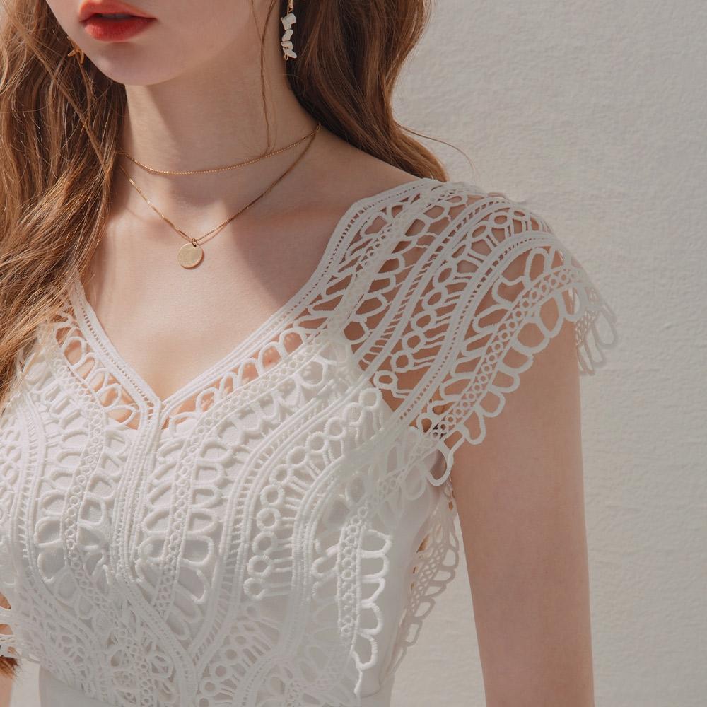 AIR SPACE 鏤空雕花蕾絲無袖短洋裝(白)
