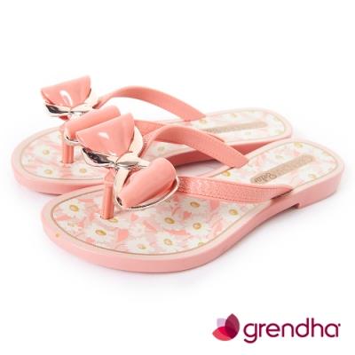 Grendha 瑪格麗特蝴蝶結夾腳鞋-女童-粉橘