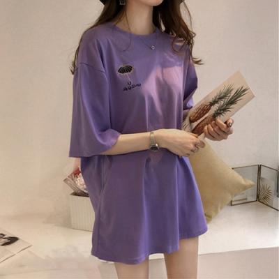 2F韓衣-簡約素色舒適印花造型上衣-3色(M-2XL)