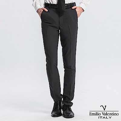 Emilio Valentino 范倫提諾修身彈性平面西褲-深灰