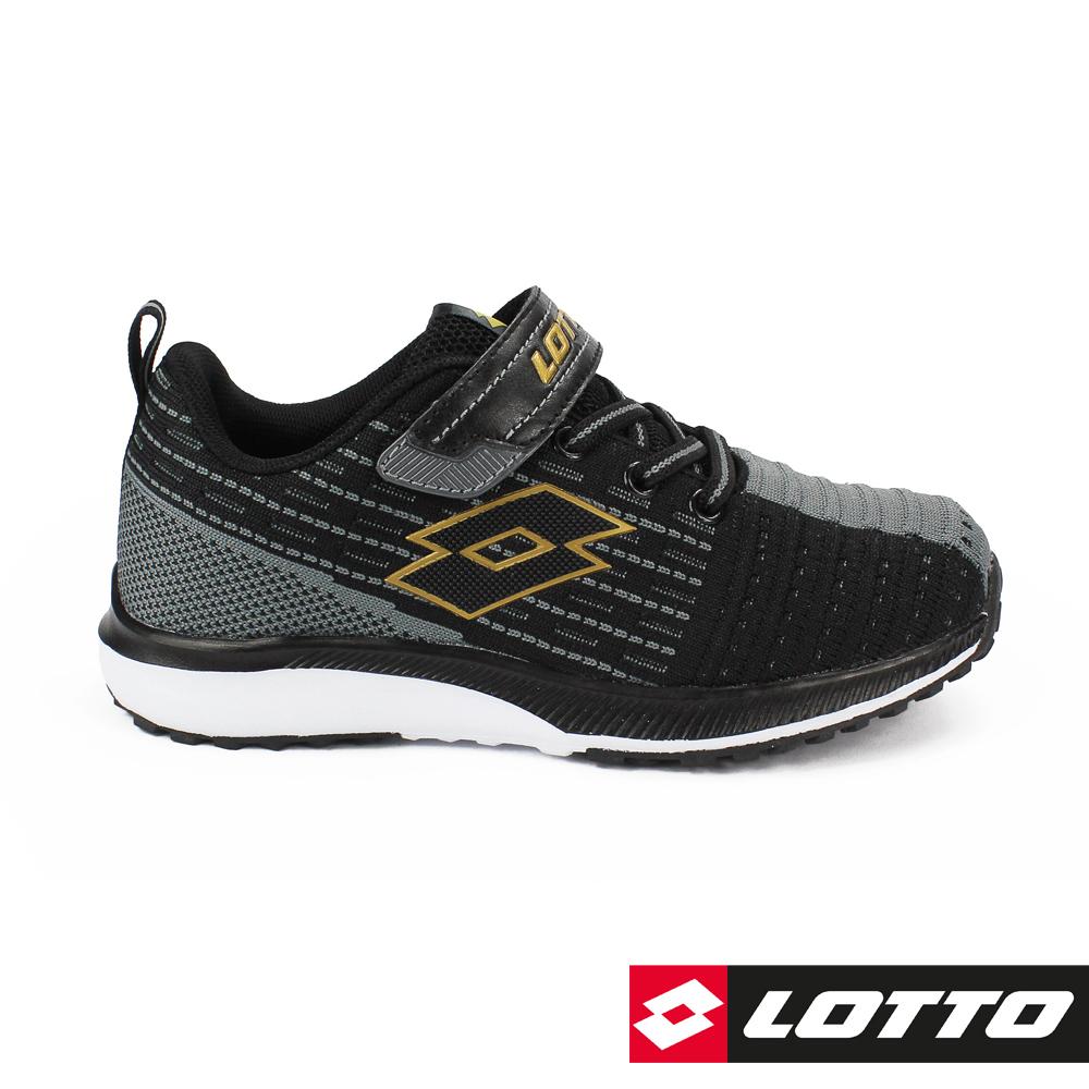 LOTTO 義大利 童 KNIT LIGHT 針織輕量跑鞋(黑)