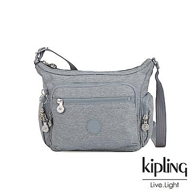 Kipling 極簡風淺灰丹寧多袋實用側背包-GABBIE S