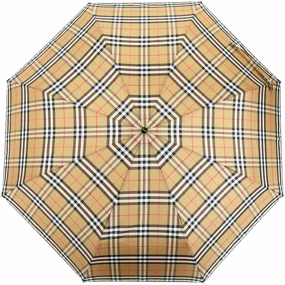 BURBERRY Vintage 牛皮提把格紋折疊傘 (古典黃x蜜金色)