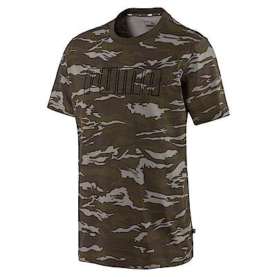 PUMA-男性基本系列迷彩短袖T恤-深林綠-歐規