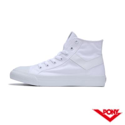 【PONY】Shooter系列高筒復古經典帆布鞋 休閒鞋 情侶鞋 小白鞋 男鞋 白色