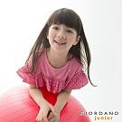 GIORDANO 童裝竹節棉蕾絲花邊造型上衣-26 薔薇粉紅