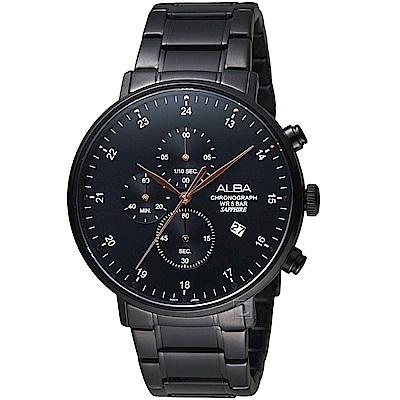 ALBA雅柏時尚潮流計時腕錶(AM3665X1)-黑