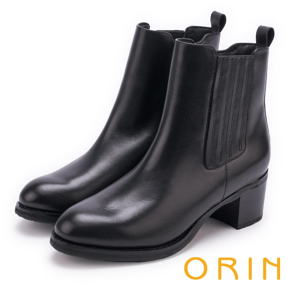 ORIN 中性街頭帥氣 經典素面牛皮短靴-黑色