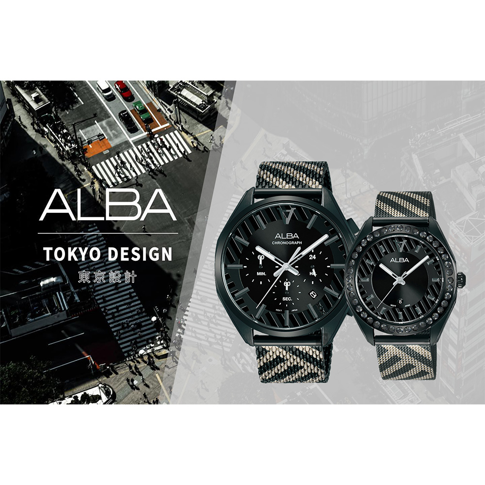 ALBA 雅柏 限量東京街頭對錶 情侶手錶(AT3H07X1+AH7W69X1)-42+36mm product image 1
