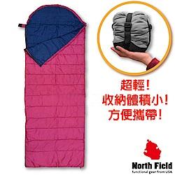 美國 North Field 丸洗 15℃超輕全開式信封型化纖睡袋_深紫/藍