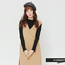 H:CONNECT 韓國品牌 女裝 - V領長版針織背心-卡其(快)