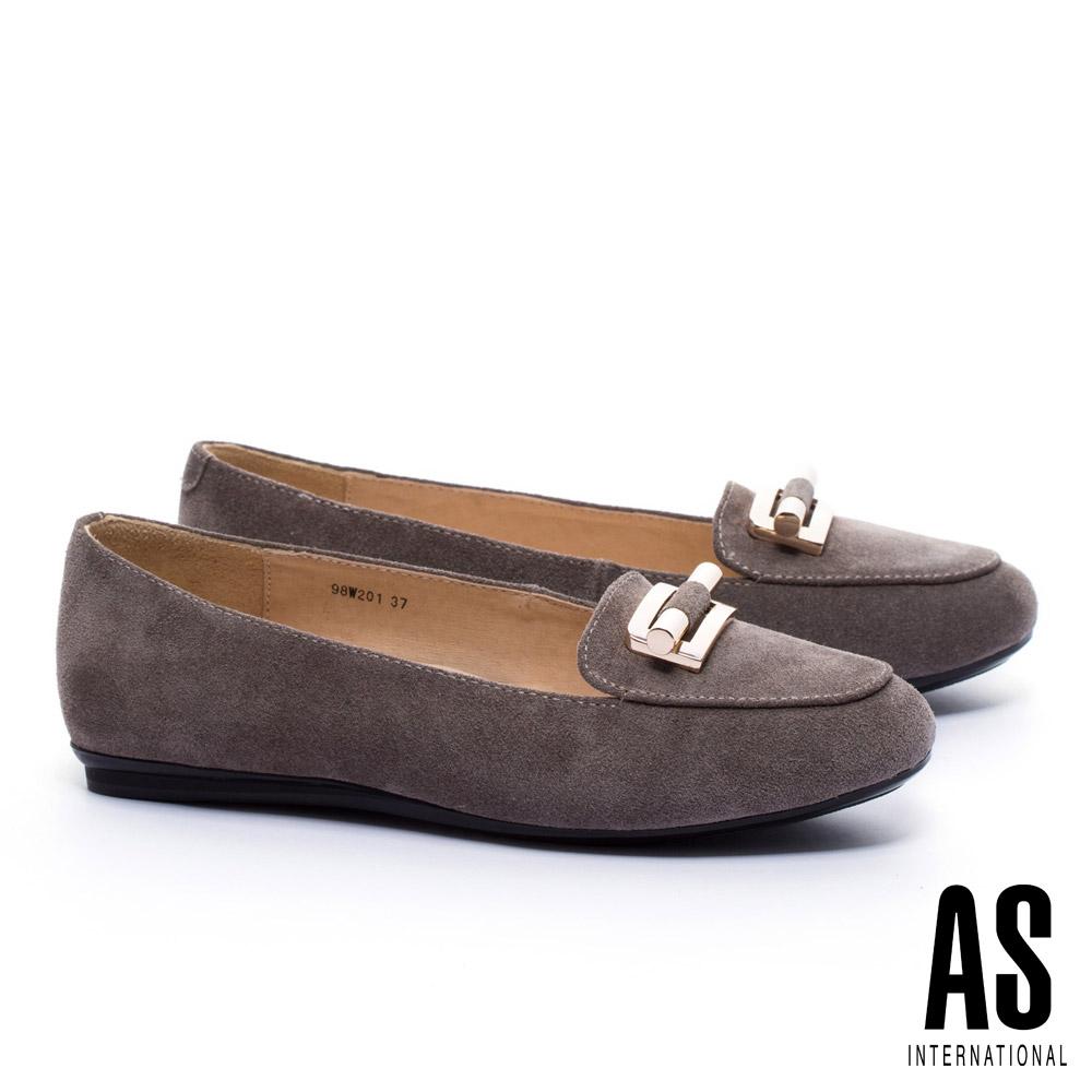 平底鞋 AS 典雅知性金飾牛麂皮樂福平底鞋-可可
