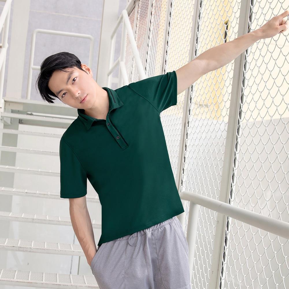 環保咖啡紗領排釦POLO衫上衣-OB大尺碼 product image 1
