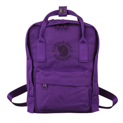 Fjallraven 瑞典北極狐Re-Kanken-Mini方型空肯包/拉鍊後背包(迷你/深紫色)