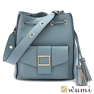 WuMi 無米 維多莉亞束口水桶包 微風藍