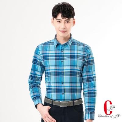 Christian 英倫風範格紋襯衫_藍格(RW820-55)