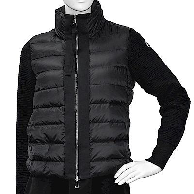 MONCLER 經典品牌LOGO立領拼接針織手袖羽絨夾克(黑)