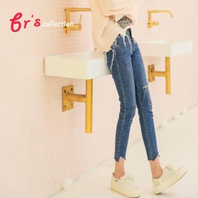 【brs】高彈力割破褲腳極顯瘦破壞小腳褲(S-XL)