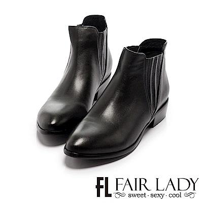 Fair Lady 簡約率性皮革百搭短靴 黑