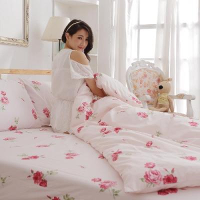 BUHO 雙人加大三件式精梳純棉床包組(夏日玫瑰-紅)