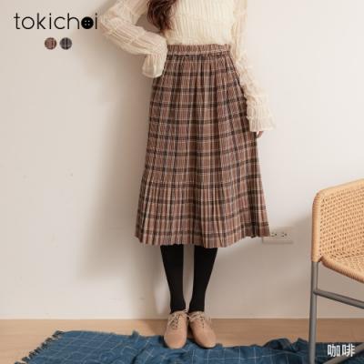 東京著衣 青春無敵經典格紋腰鬆緊百褶長裙