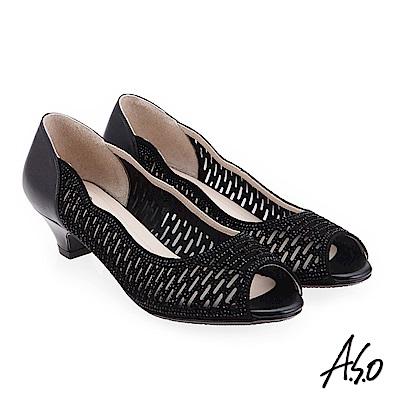 A.S.O 炫麗魅惑  全真皮璀璨水鑽魚口鞋 黑色