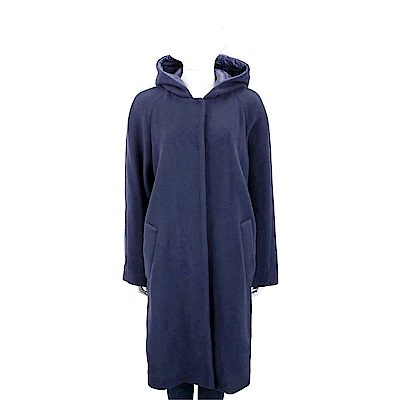 Max Mara-SPORTMAX 隱藏釦設計深藍色連帽羊毛大衣