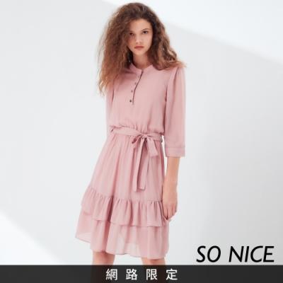 SO NICE優雅飄逸綁結雪紡洋裝