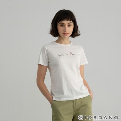 GIORDANO  女裝Positive印花T恤 - 61 皎白