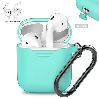 AHAStyle PodFit 2.0 - AirPods 專用矽膠掛鉤款保護套 湖水綠色