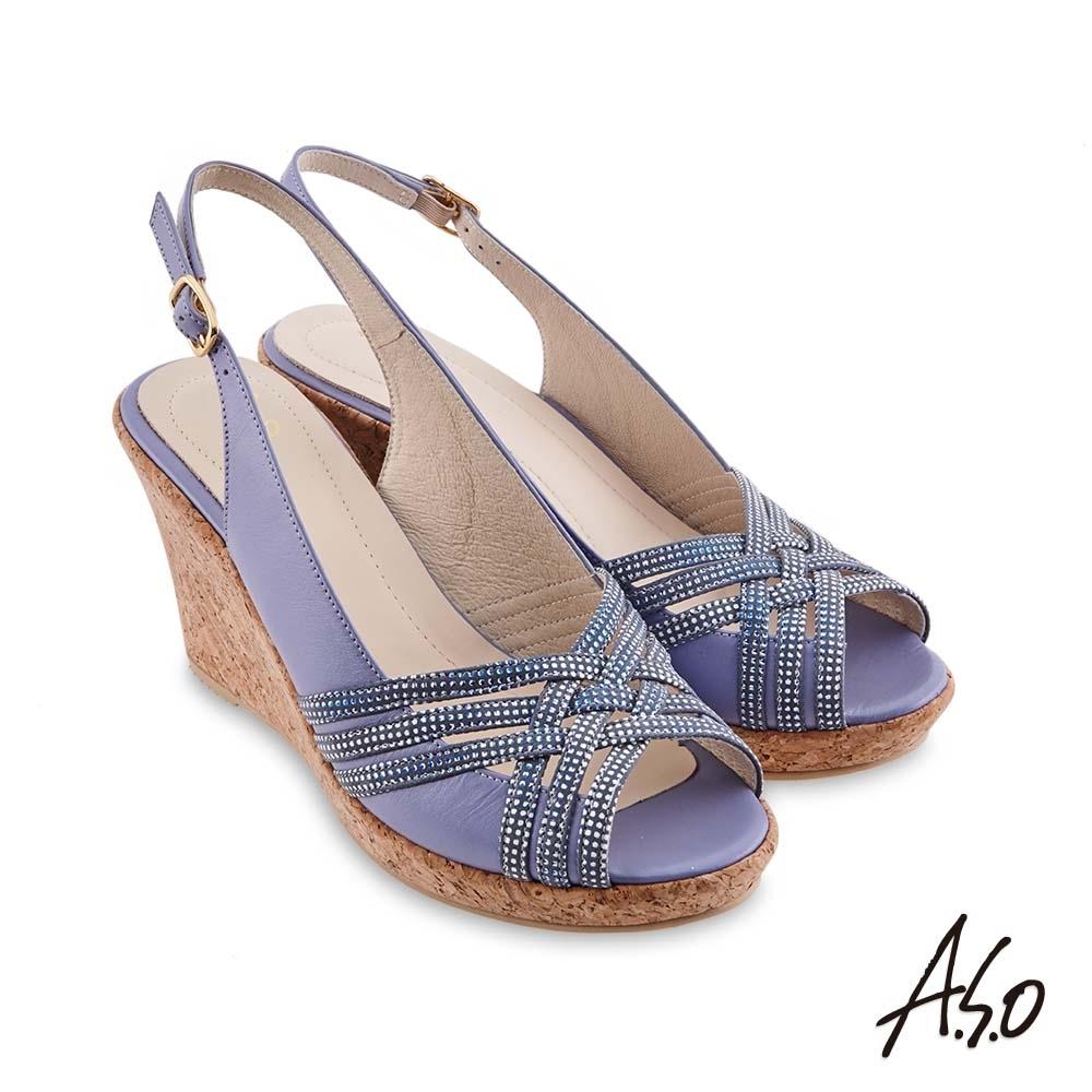 A.S.O 時尚流行 健步美型絨面羊皮條帶魚嘴楔型涼鞋-淺紫