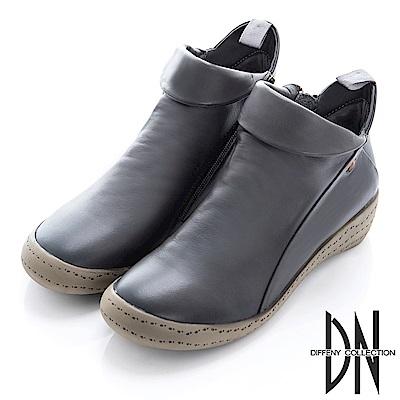 DN 漫步街頭 牛皮拼接造型平底短靴-灰