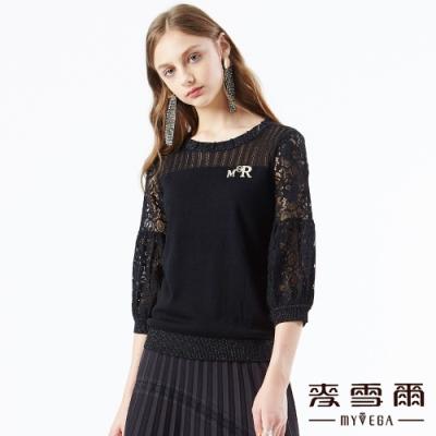 【麥雪爾】亮粉立體造型圓領蕾絲袖針織衫-黑