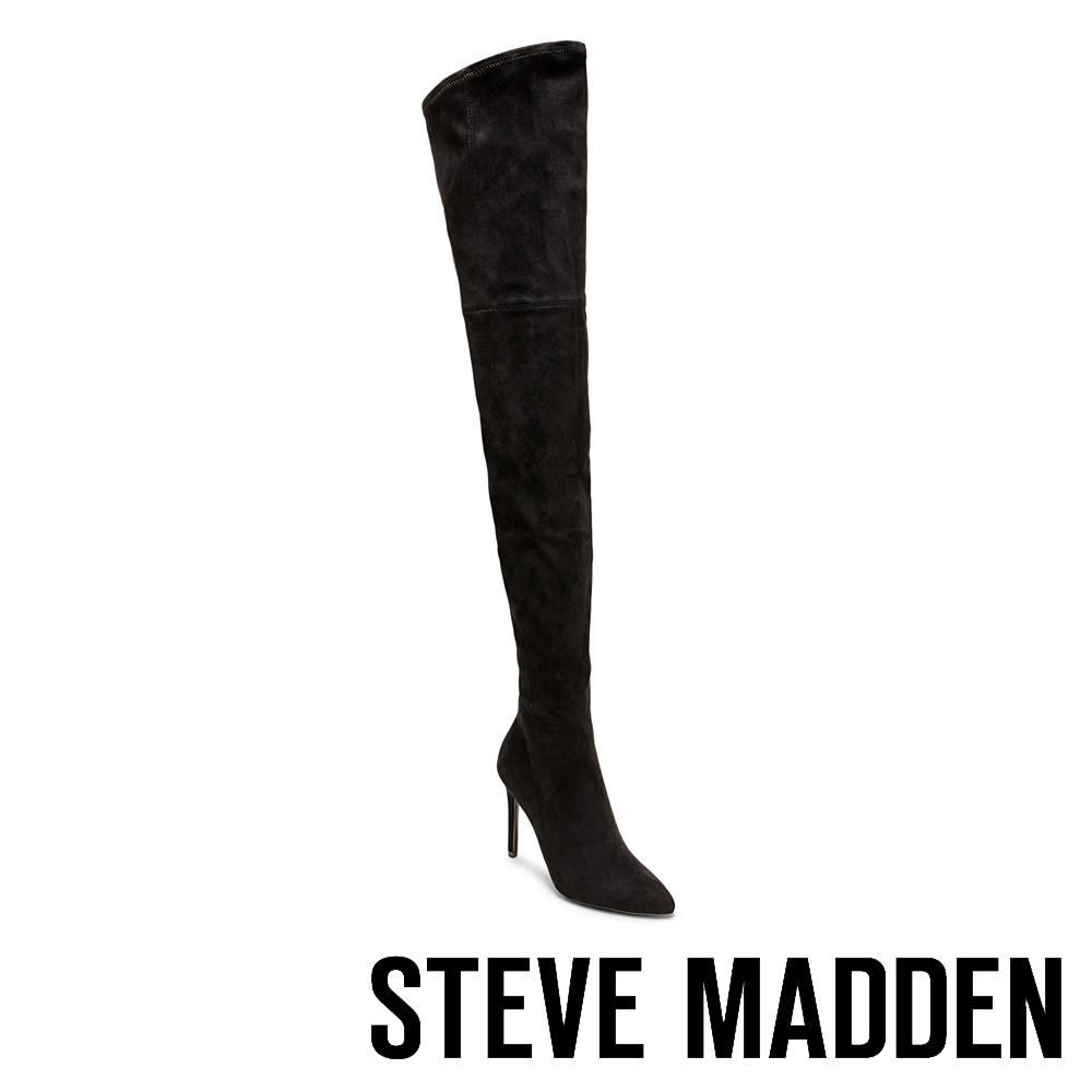 STEVE MADDEN-DOMINIQUE尖頭高跟過膝套靴-絨黑