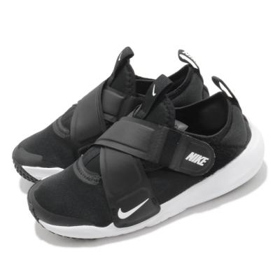 Nike 慢跑鞋 Flex Advance 運動 童鞋 輕量 透氣 舒適 魔鬼氈 中童 穿搭 黑 白 CZ0186002