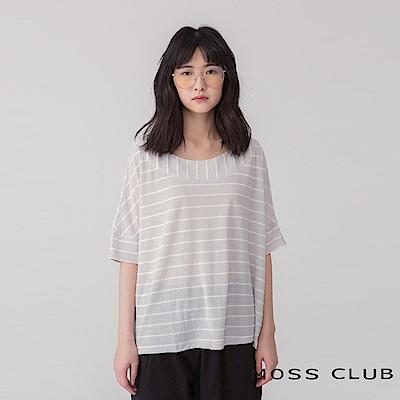 MOSS CLUB INLook親膚薄透圓領條紋短袖上衣