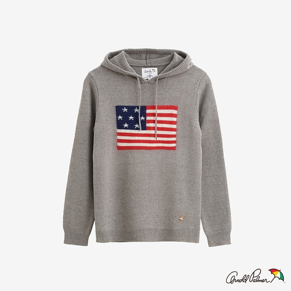 Arnold Palmer -女裝-USA國旗緹花連帽線衫-灰