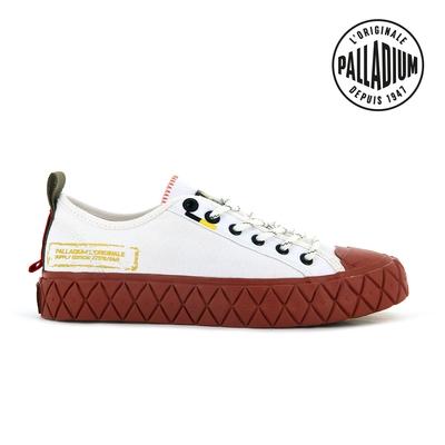 PALLADIUM PALLA ACE SUPPLY LO軍風格紋厚底鞋-中性-白