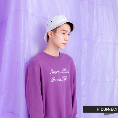 H:CONNECT 韓國品牌 男裝 -草寫標語圓領上衣-紫
