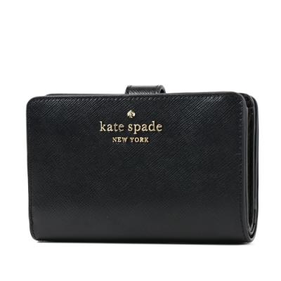 KATE SPADE 金字防刮十字紋釦式中夾-黑色