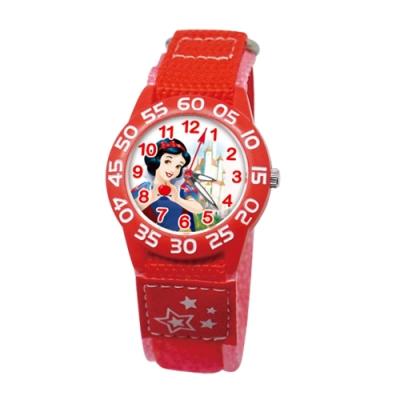 DISNEY迪士尼 自黏休閒織帶手錶白雪公主33mm蘋果紅色