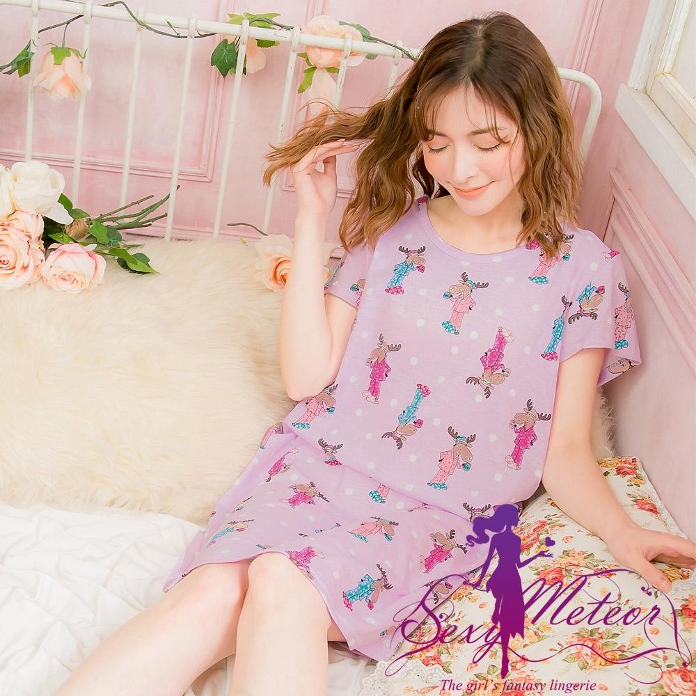 睡衣 全尺碼 棉質點點麋鹿短袖連身裙睡衣(俏皮淺紫) Sexy Meteor